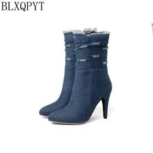 BLXQPYT Plus Big & Small Size 28 50 Denim  boot short Pointed Toe Women Autumn winter High Heels Wedding Shoes Woman Y72