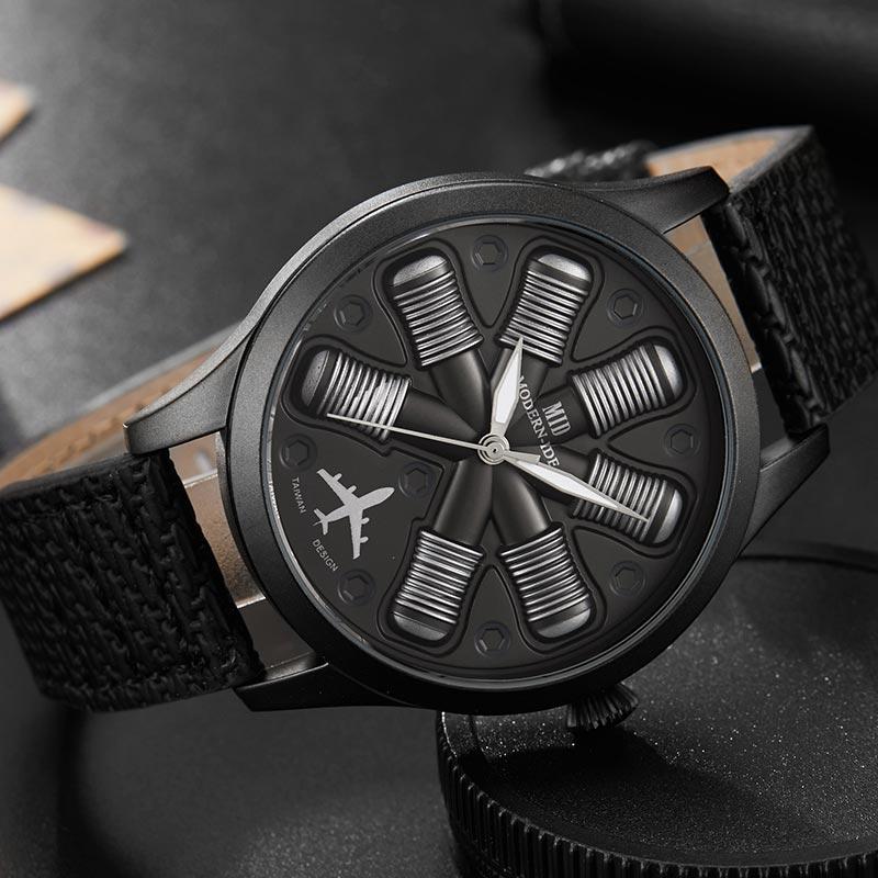 Unique Cool avion moteur forme noir hommes montres Top marque de luxe militaire homme montre-bracelet Sport Relogio Masculino