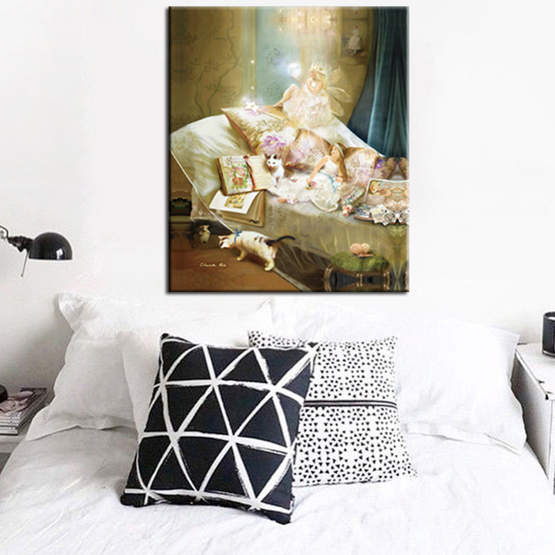 Angels Beauty Flower Fairies Abstract Landscape Oil Painting Print on Canvas Poster Wall Picture for Girls Room Christmas Gift