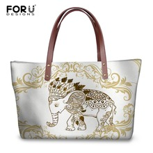 FORUDESIGNS Ladies Handbags 3D Indian Elephant Prints Women Luxury Beach Shoulder Bags Fashion Shopping Top-Handle Bag For Girls цена 2017