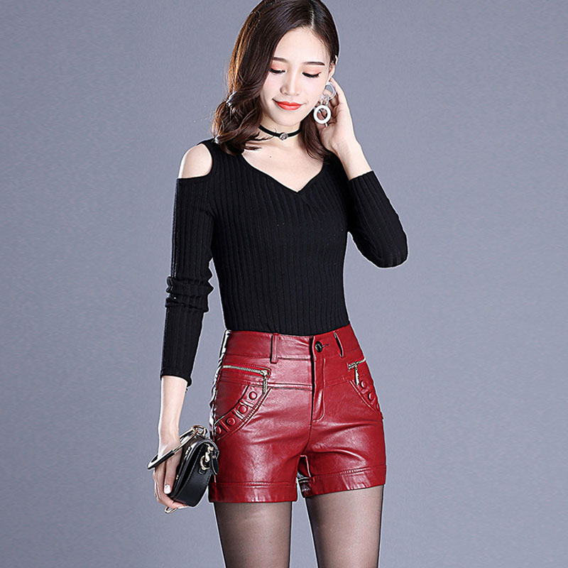 2019 Newnew Winter Pu Leather Shorts Women Boots High Waist Fashion Shorts Female Black Leather Shorts Plus Size Red And Black