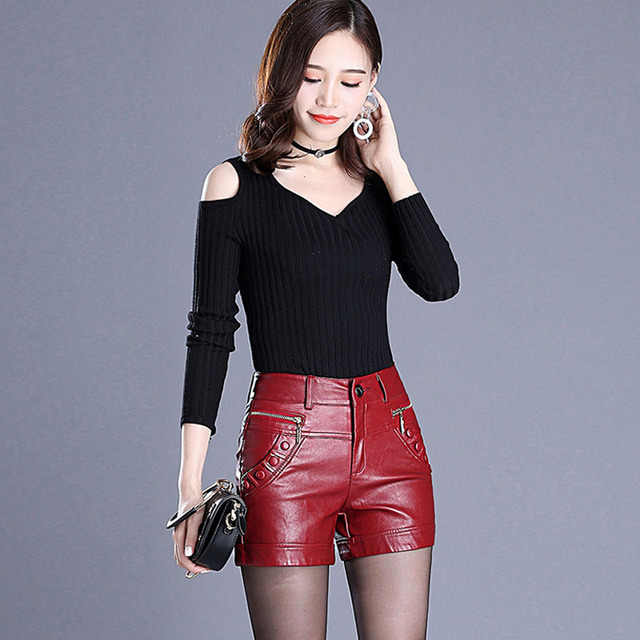2c8c0c3a7fcc 2019 Newnew winter pu leather shorts women boots high waist fashion shorts  female black leather shorts plus size red and black