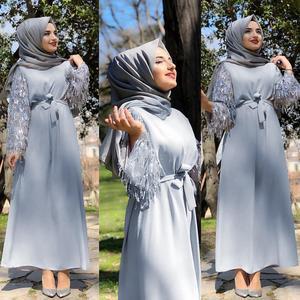 Image 5 - Vestido largo de lentejuelas con borlas para mujer, caftán Abaya de Dubái, ropa árabe islámica, vestido Hijab de banda