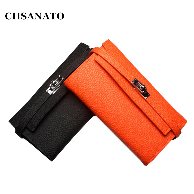 CHSANATO 100% Real Leather Wallet Women Famous Brand Luxury Designer Wallets Ladies Purse Female Genuine Leather Clutch famous women luxury brand wallets genuine leather purse clutch ladies rivet pink wallet designer high quality long wallet thin