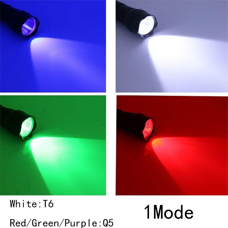 Tactical 501B Flashlight Red Blue Green T6//Q5 LED Hunting Light Torch Camping
