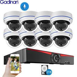 Gadinan 8CH 4MP POE NVR Камера безопасности комплект системы H.265 аудио запись ip-камера ИК Купол Открытый водонепроницаемый CCTV комплект видеонаблюден...