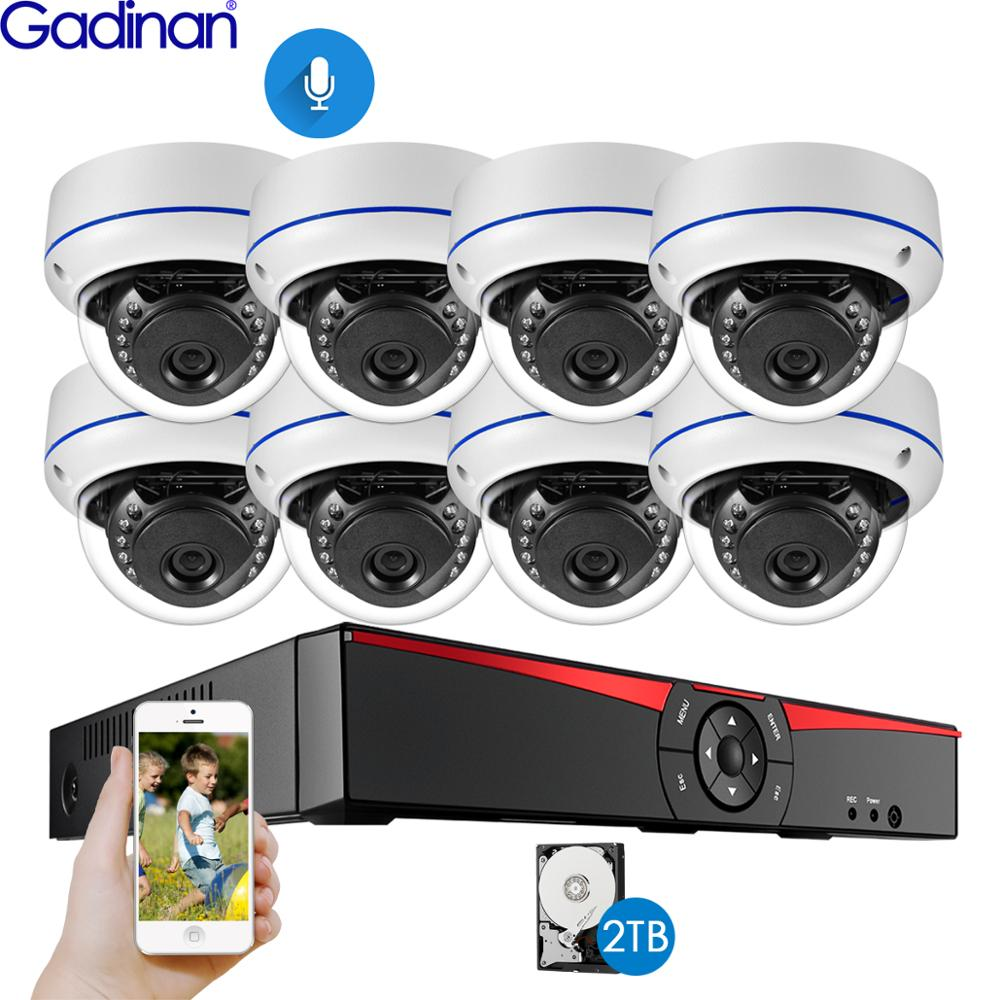 Gadinan 8CH 4MP POE NVR Security Camera System Kit H.265 Audio Record IP Camera IR Dome Outdoor Waterproof CCTV Surveillance Set