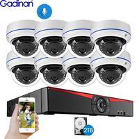 Gadinan 8CH 4MP POE NVR Security Camera System Kit H.265 Audio Record IP Camera IR Dome Outdoor Waterproof CCTV Surveillance Set