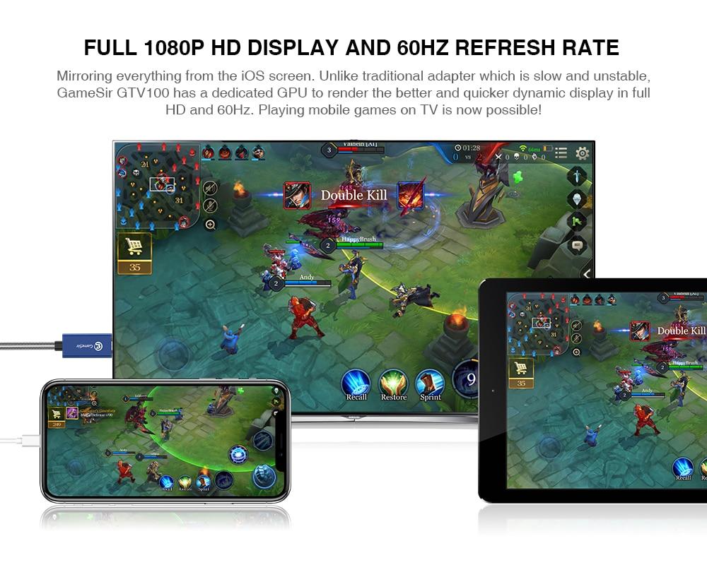 Geleneksel adaptörler yavaş ve dengesiz olabilir, GameSir GTV100 atanmış bir GPU ile görüntüyü daha iyi tarar ve aktarır! Mobil Oyunları Televizyonda oynamak artık mümkün!