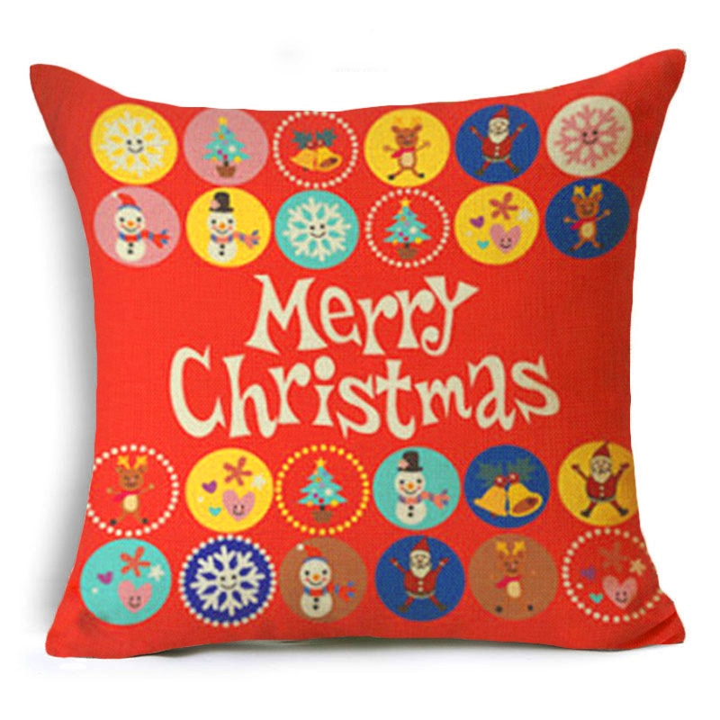 Let It Snow Xmas Style Cushion Cover Merry Christmas Tree Santa Claus Socks Balloon Home Decorative Pillows Cover Case Nordic