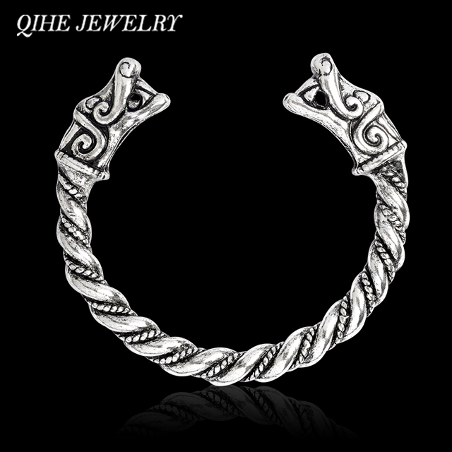 QIHE JEWELRY Dragon bracelet Open bangle Animal head Mens arm band
