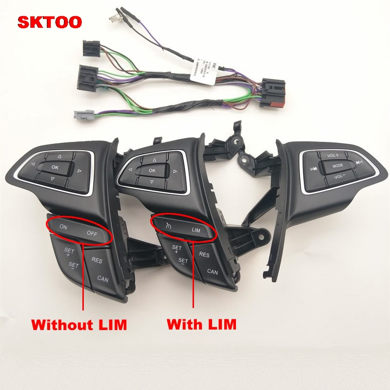SKTOO For Ford Focus MK3 2015-2017 Kuga 2017 Cruise control switch Multifunction steering wheel button Bluetooth audio button