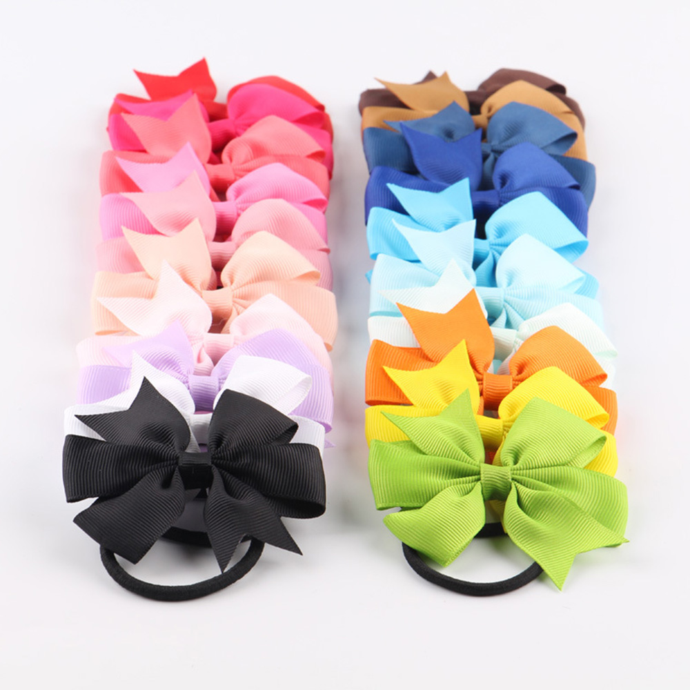 10Pcs/Lot Bow Hair Bands Tools 20 Colors Elastic Rubber Band Hair Ties/Rings/Ropes Gum Grosgrain Ribbon Holders Hair Accessories