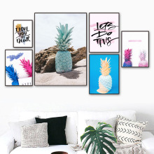 Colorful Pineapple Quotes Beach Wall Art Canvas Painting Nordic Posters And Prints Pop Pictures For Living Room Decor