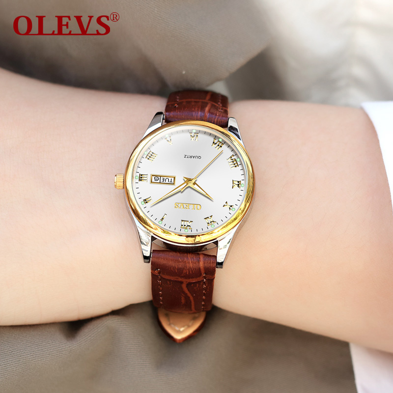 OLEVS Fashion Brand Ladies Watches Auto Date Brown Leather for Female Rose Gold Quartz Watch Women Casual Display Wrist watchOLEVS Fashion Brand Ladies Watches Auto Date Brown Leather for Female Rose Gold Quartz Watch Women Casual Display Wrist watch