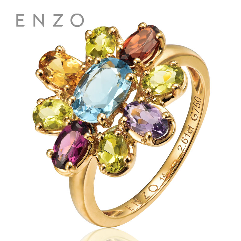 ENZO Rainbow 18K Gold Flower Shape Ring Natural Colourful Crystal Ring With Fancy Design Wonderful Jewelry