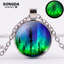 SONGDA Glow In The Dark Northern Lights Necklace Green Aurora Borealis Printed Necklaces Pendants Galaxy Universe Space Jewelry