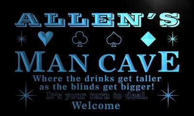 x0114-tm Allens Man Cave Poker Room Custom Personalized Name Neon Sign Wholesale Dropshipping On/Off Switch 7 Colors DHL