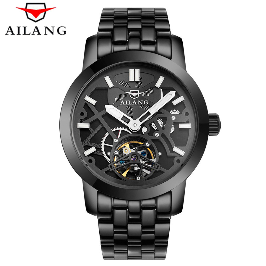 AILANG Stainless Steel Luminous Automatic Mechanical Watches Men Top Brand Luxury Transparent Hollow Skeleton Military Watch tevise men black stainless steel automatic mechanical watch luminous analog mens skeleton watches top brand luxury 9008g