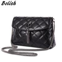 High Quality Embroidery PU Leather Women Handle Bag Fashion Plaid Chain Shoulder Women Bag Tassel Women