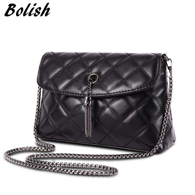 Bolish High Quality Embroidery PU Leather Women Handle Bag Fashion Plaid Chain Shoulder Women Bag Tassel Women Crossbody Bag metallic pu chain crossbody bag
