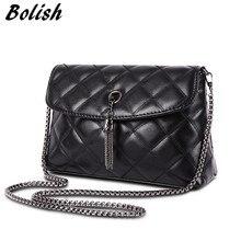 High quality Embroidery PU leather women handle bag fashion plaid chain shoulder tassel crossbody