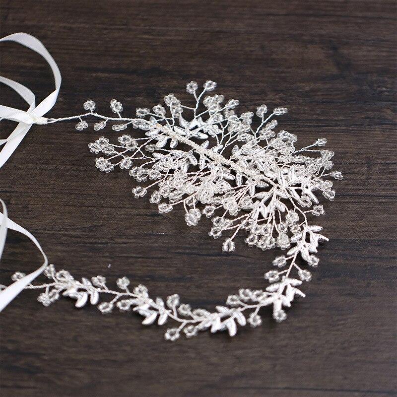 Handmade headbands Silver color Leaf Wedding Hair Accessories Bride hairbands crystal bridal hair accessories Bridesmaid gift