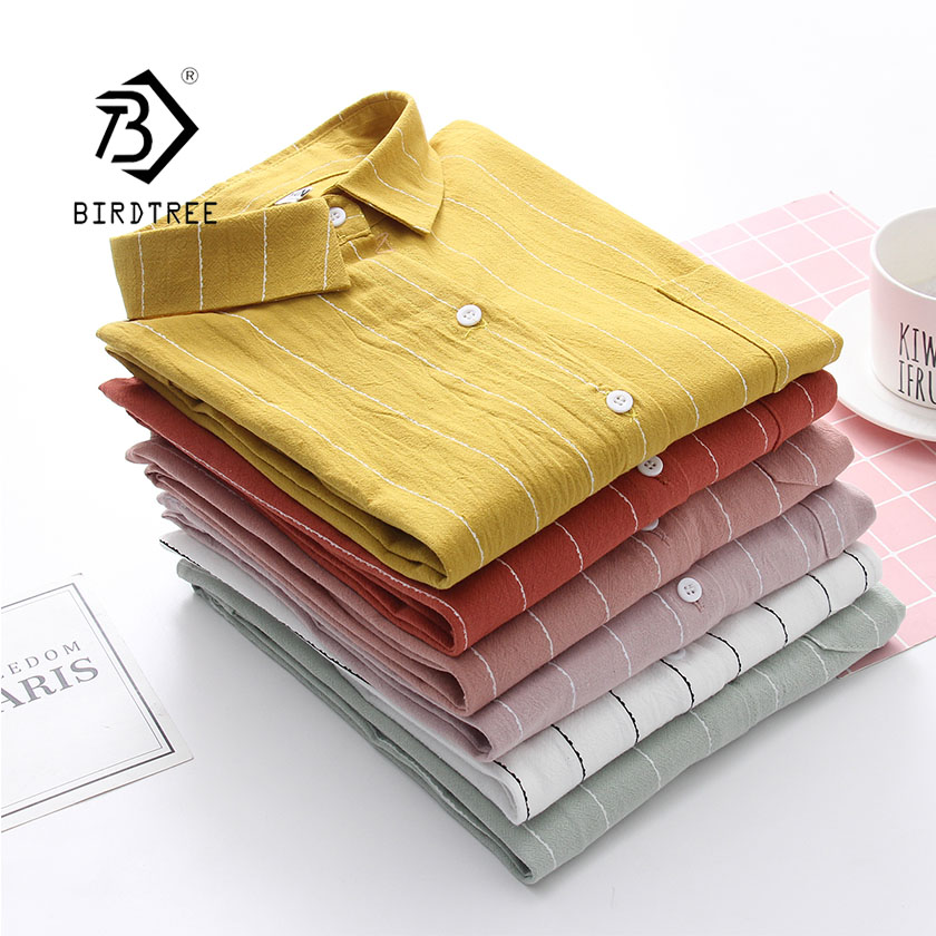 2019 NEW Striped Shirt Office Lady Wear Button Up Turn Down Collar Loose Pocket Cotton Blouse Feminina HOT Sale T8D417M