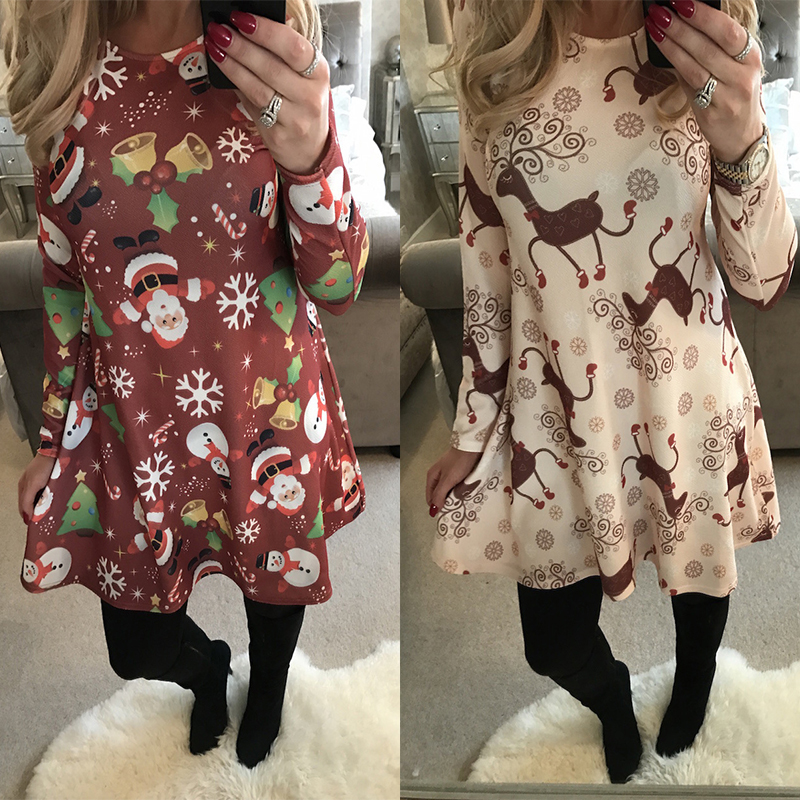 Winter Casual New Year Christmas Mini Dress Women Long Sleeve Floral Plus Size Dress Clothes Femme O-neck Ladies Dresses 1