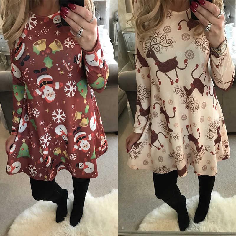 0f3aff20bf1cb ... الشتاء عارضة العام الجديد عيد الميلاد البسيطة اللباس المرأة طويلة الأكمام  الأزهار زائد حجم اللباس الملابس ...