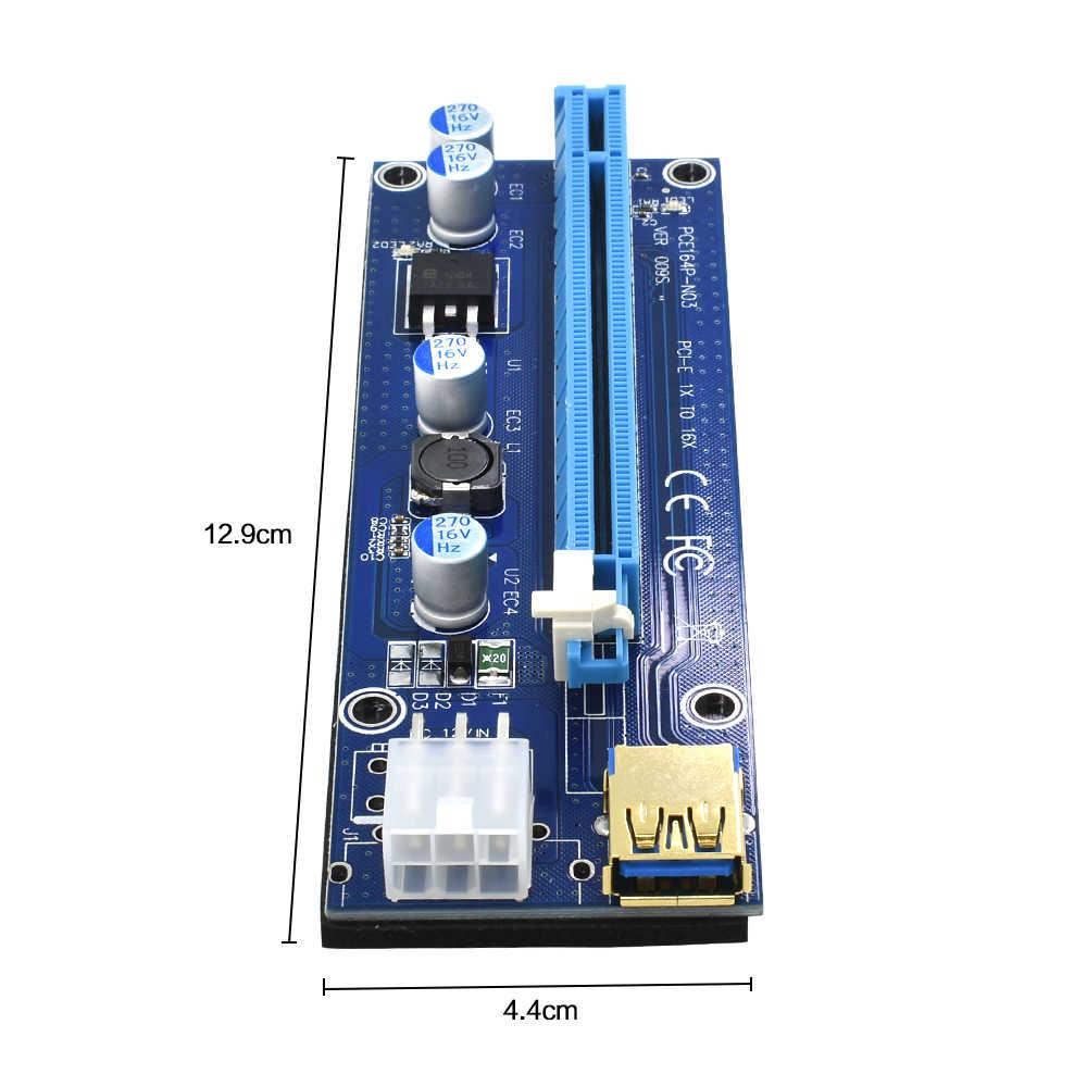 TISHRIC 2018 złoty VER009S pci express PCIE PCI-E karta rozszerzająca 009s Molex 6Pin do SATA 1X 16X USB3.0 Adapter przedłużający LED górnictwo