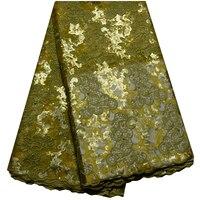 Nueva llegada africano nigeriano hermoso Lentejuelas tela del cordón del color del oro brillante de moda tela africana francesa del cordón