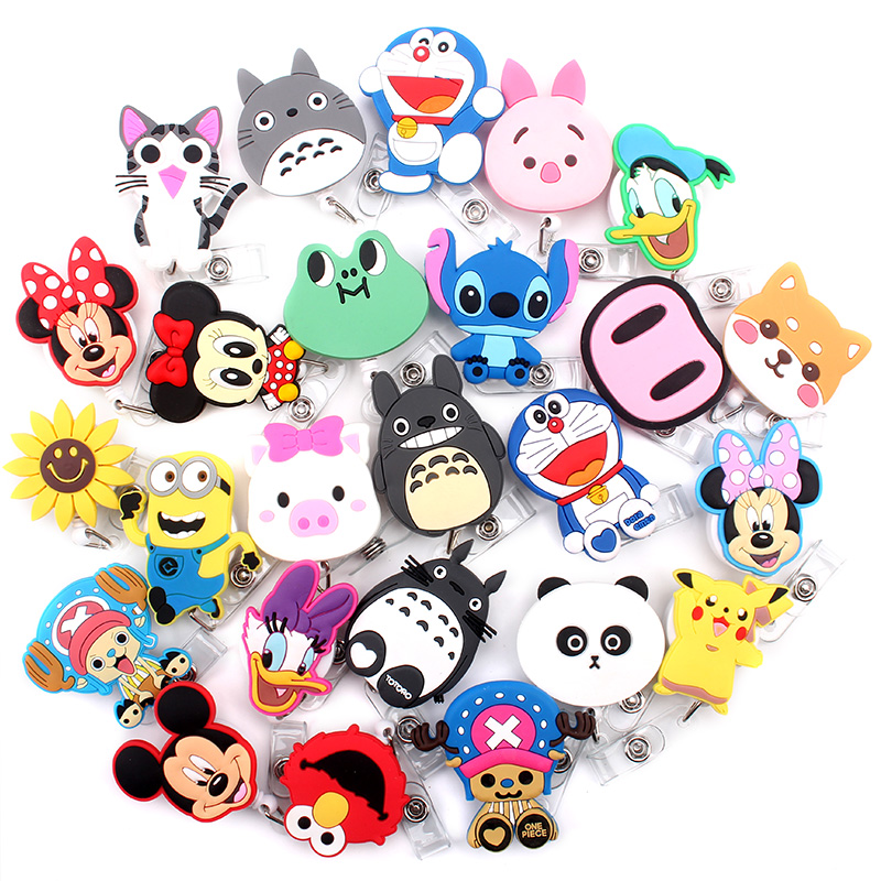 25pcs / Lot Cute Cartoon Design Retractable Badge Reel For Student Nurse Identification Card Holder Clip Hospital Office School