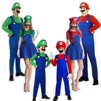 2018 Nuovo anno Super Mario Cosplay Costumi Per Bambini Per Bambini famiglia Funy Luigi Bros Idraulico Purim Vestito Operato Dal Costume Di Natale del partito