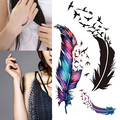 New Fashion 3D Temporary Removable Waterproof Colorful Body Art Feather Sexy Tattoo Sticker