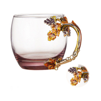 GFHGSD Enamel Glass Cups 350ml Creative Vintage Heat resistant Coffee Mug With Handgrip And Crystal Spoon Gold Flowers