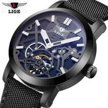 LIGE Luxury Brand Fashion Automatic Mechanical Watches Men Military Waterproof Wristwatches Canvas Skeleton Watch Relojes Hombre