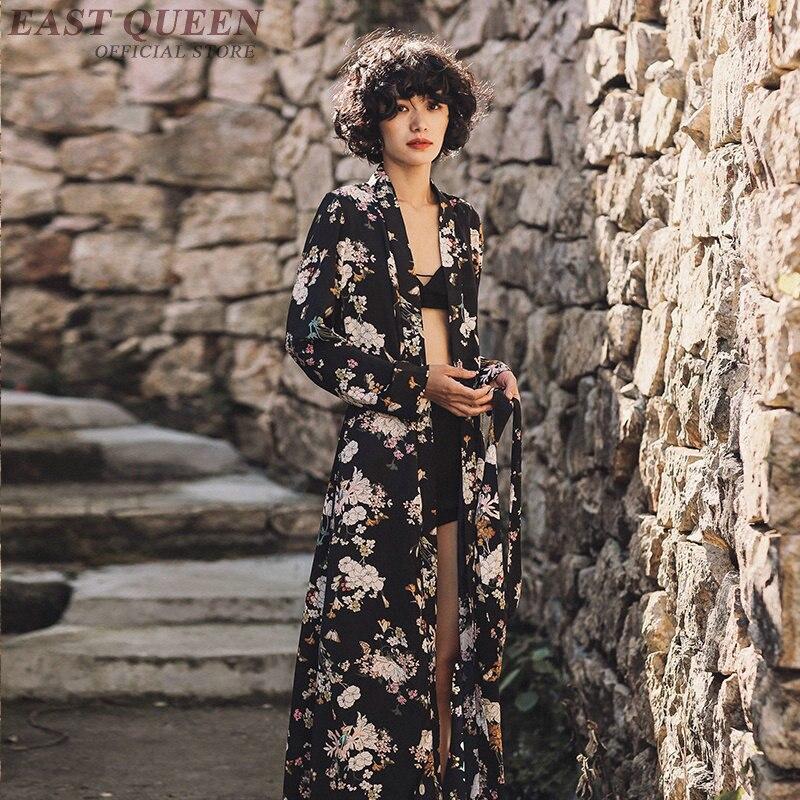 Été japonais femmes kimono cardigan robe longues chemises plage en mousseline de soie blouse kimono vintage élégant floral imprimé robe DD354 F