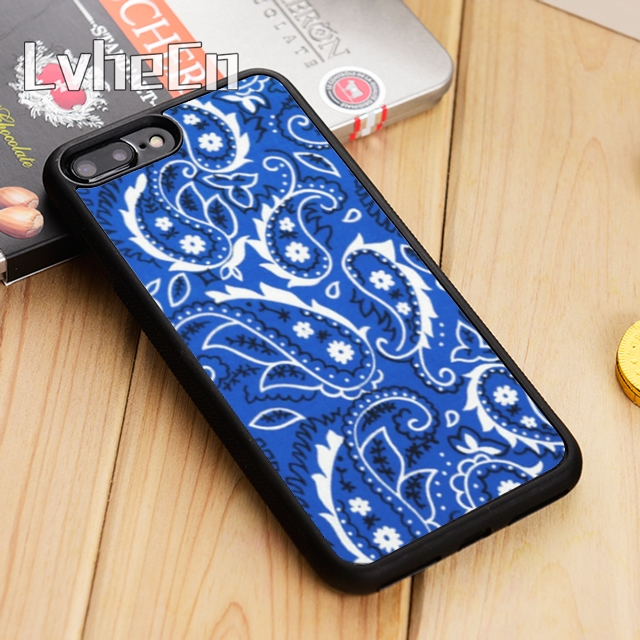 best service f93ec b8f8f US $3.18 20% OFF|LvheCn Royal Blue Bandana Paisley Phone Case Cover For  iPhone 5 5s SE 6 6s 7 8 10 X Samsung Galaxy S6 S7 edge S8 S9 plus note 8-in  ...