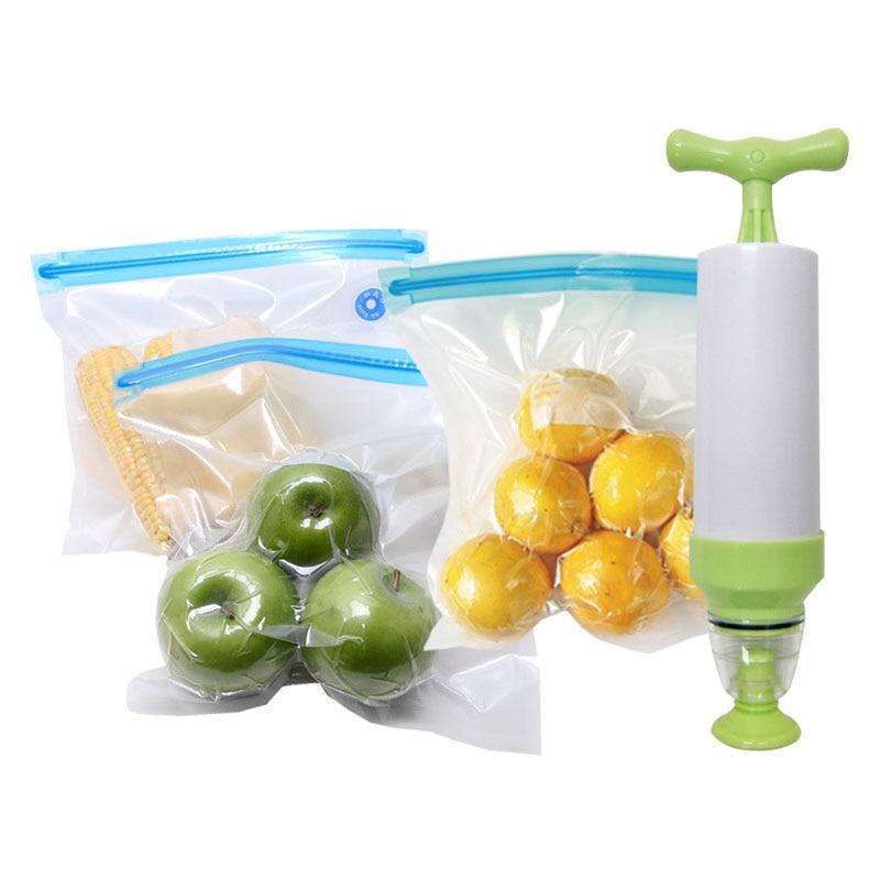 5 PCS Food Compression Storage Bag Plastic Cement Vacuum Fresh-keeping Seal Bag With Suction Pump Random Color