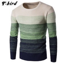 T-bird 2017 Fashion Brand Clothing Men Sweater Color Fight Color O-Neck Slim Fit Casual Pullover Men Sweaters Knitting Mens