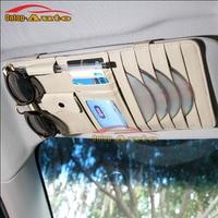 Genuine Leather Auto Car Sun Visor CD Cards Glasses Tickets Pen Zipper Storage Bag Holder Organizer