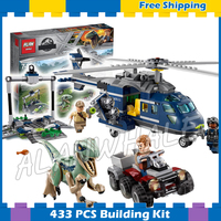 433Pcs Jurassic World Blue's Helicopter Pursuit Bike Velociraptor Model Building Blocks Dinosaur Gifts sets Compatible With Lego