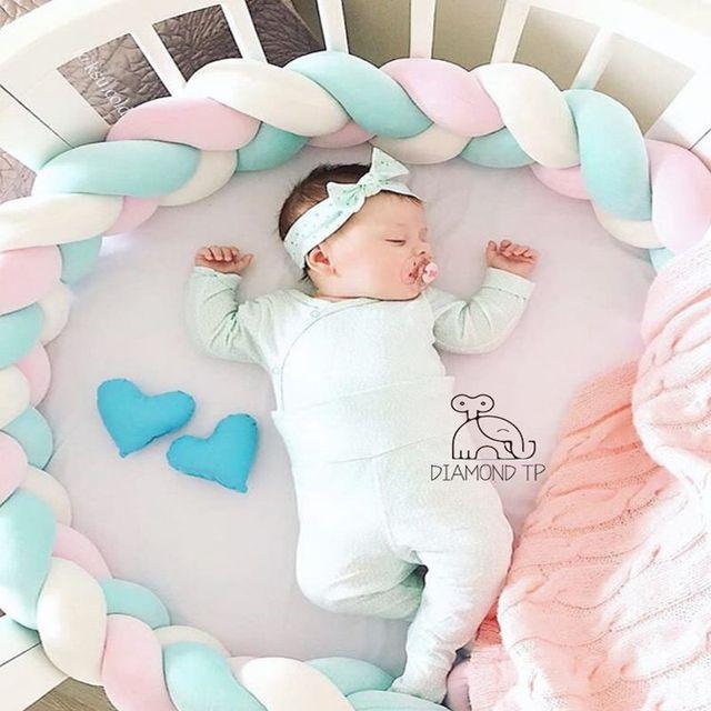 Protector de cuna para bebé, protección para recién nacido, Bumper anudado, trenzado de felpa, cuna, cuna, cama para bebé, parachoques para dormir, regalo de decoración de habitación