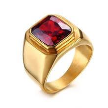 Men's fashion Stainless Steel charm ring Gold Plated square immitate red Agate Vintage Signet Ringsl for Men