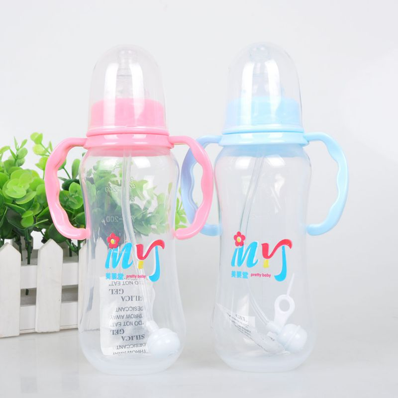 1 pc 280ml Cute Baby Feeding Bottle Newborn Girl Boy Learn Drink Training Cup with Handle Straw Milk Juice Water Drinking Bottle
