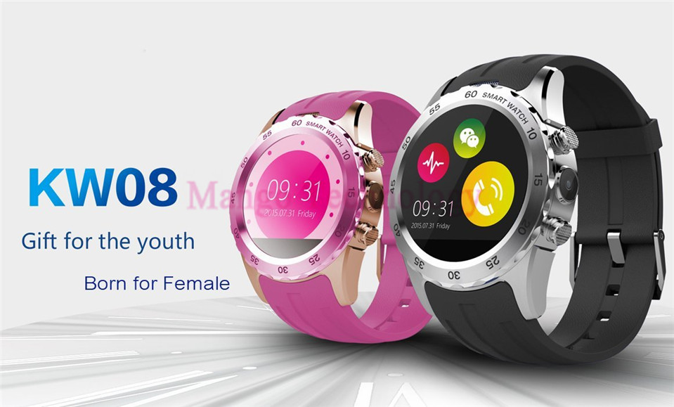 ФОТО Smart Watch KW08 Heart Rate Monitor Clock Sync Notifier With Sim Card Bluetooth Connectivity for Apple Android Smartwatch Phone