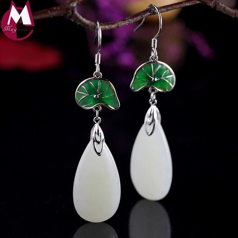 water drop natural jade enamel green lotus leaf design 100% 925 sterling silver jewelry wedding long ethnic earrings for women pair of rhinestone embellished lotus leaf shape drop earrings