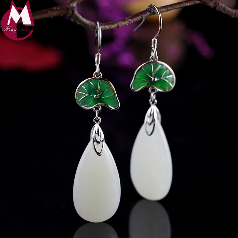 water drop natural jade enamel green lotus leaf design 100% 925 sterling silver jewelry wedding long ethnic earrings for women