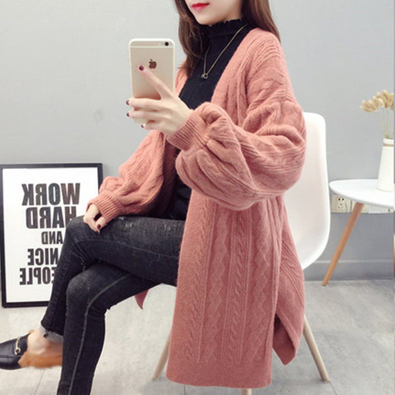 Women\`s Knit Cardigan Fashion Loose Korean Sweater Autumn Winter Twist Sweater Jacket 2019 New Lantern Sleeve Knit Cardigan (4)